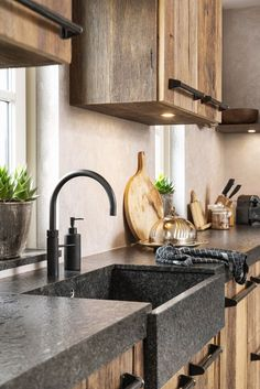 Wood is the material to give your new kitchen the warm and cozy look you want. An oak kitchen often has a rural appearance. But oak is also very suita Modern Kitchen Cabinets, Kitchen Tops, Kitchen Decor, Driftwood Kitchen, Cocinas Kitchen, Concrete Kitchen, Cuisines Design, Küchen Design, Danish Modern