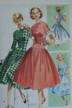 Vintage 1955 McCall's Dress Pattern Size 13 by Sweetbeefinds, $15.00