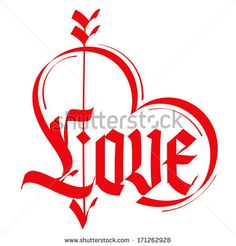 Love typography. Heart typography. Gothic lettering. Medieval calligraphy. - stock vector