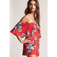 Forever21 Selfie Leslie Floral Romper ($48) ❤ liked on Polyvore featuring jumpsuits, rompers, red, off the shoulder romper, red romper, flower print romper, floral rompers and ruffle rompers