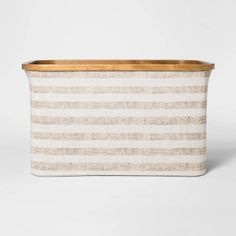 Soft Sided Striped Laundry Basket With Bamboo Rim - Beige - Threshold™ : Target Porch Storage, Bench With Storage, Boot Storage, Hemnes, Mudroom Laundry Room, Laundry Room Inspiration, Bamboo Basket, New Home Designs, Houses