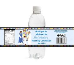 Stained Glass First Communion Water Bottle Labels