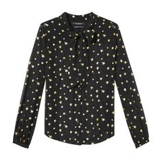 Maison Scotch Maison Scotch Gold Star Print Blouse with Bow Neck ($120) ❤ liked on Polyvore featuring tops, blouses, gold neck tie, sheer tops, gold blouse, transparent blouse and neck tie blouse