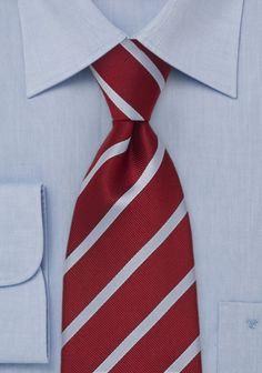 Krawatte Streifen hellblau kaminrot