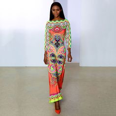 Neon Maxi Dress in Coral and Neon Yellow