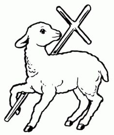 Readers of the Bible know that lambs were often sacrificed in the Old Testament . - Readers of the Bible know that lambs were often sacrificed in the Old Testament . Christian Drawings, Christian Symbols, Church Altar Decorations, Première Communion, Cross Art, Church Banners, Outline Drawings, Black And White Drawing, Catholic Art