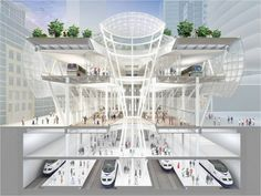 A cross section view of the new Transbay Transit Center in San Francisco, now under construction, high speed bullet train, taxis, buses, and subway systems, all in one place