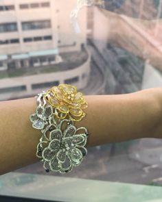 Lˊ Dezen By Payal Shah (@ldezen) on Instagram: Gorgeousness couture bracelet. #jewelry #luxury #oneofakind #couture #bracelet #jewellery #ldezen #diamondjewelry #whitegold #slice diamond #ldezendiamondgirl #diamondslice #nature #flower