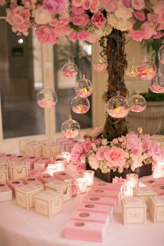 Pink %26 White Favor Table Photography: Marianne Lozano Photography Read More: http://www.insideweddings.com/weddings/pink-white-wedding-with-ombre-details-at-montage-laguna-beach/686/