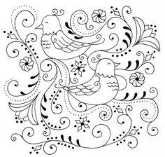 Este es un patrón para bordar pájaros precioso que tanto en dos colores como en muchos tiene que quedar precioso.