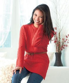 Women's Cable Knit Tunic Sweaters