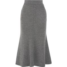 BeaufilleDeimos Stretch-knit Skirt ($600) ❤ liked on Polyvore featuring skirts, beaufille, grey, flared skirt, flare skirt, grey midi skirt, grey skirt and gray midi skirt