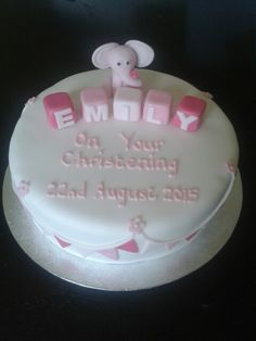 Girls christening cake with fondant elephant