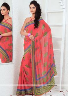 Get a designer look wearing this beautiful pink shade saree decorated with designer prints. Multicolor pallu and border gives it trendy look. It will look good for kitty as well as semi-formal parties. $35.00 http://goodbells.com/saree/beautiful-printed-pink-saree.html