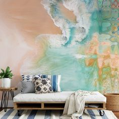 Designer Lara Skinner has updated her collection with these beautiful geode murals. Combining an aerial view of the beach with a trendy geode design, the pastel trend has never looked so good 😍 Pair with a roll away palette bed for a simple, minimalist look and add blue geometric cushions for a trendy feel. Head to the Wallsauce.com Instagram for more bedroom inspiration! #bedroomdecor #bedroominspo #geode