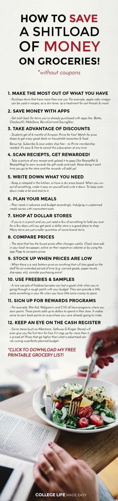 12 Ways to Save Money on Groceries! (Without Coupons) | Free Printable Grocery List | Frugal Living | Budget Grocery Shopping | Tips Tricks Hacks | How to Save Money on Groceries without coupons | Free Printable Shopping Lists | Apps | College Grocery Lis