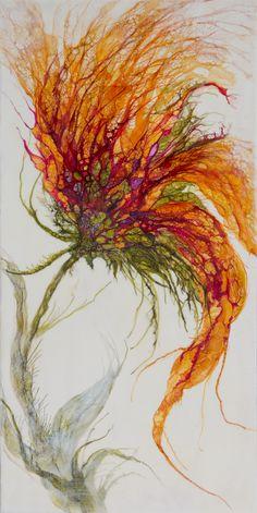 Alicia Tormey Encaustic Art, Exhibit in Bellevue, October – November - Yadira Soares Flower Painting Canvas, Flower Canvas, Flower Art, Canvas Art, Alcohol Ink Crafts, Alcohol Ink Painting, Alcohol Ink Art, Bright Abstract Art, Drip Art