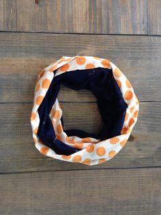 Orange Polka Dot and Navy Infinity Scarf by KutKloth on Etsy, $12.00