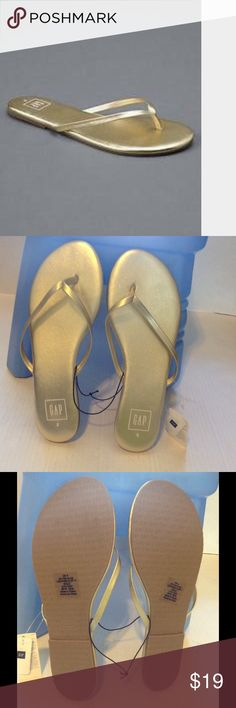 🆕GAP WOMENS LEATHER GOLDEN FLIP FLOPS . Gap women's leather golden flip flops. The upper material of the flip flop is leather. The out sole is rubber. It has thin thong straps . It's very elegant and beautiful looking golden color which goes with everything .Brand new with tag. It's doesn't come with a box. GAP Shoes Flats & Loafers