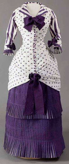 Summer Day Dress Worn by Madame Bartholomé in the Painting In the Conservatory  French, 1880  White cotton printed with purple dots and stripes  Musée d'Orsay, Paris, Gift of the Galerie Charles and André Bailly, 1991