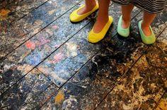 Floor of Pollock's studio in East Hampton, New York (now the Pollock-Krasner House and Study Center)