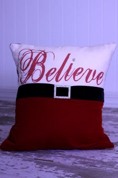 Cute take on Santa's outfit for a holiday living room pillow