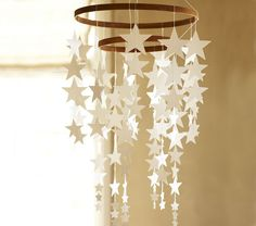 DIY hanging star mobile from pottery barn kids Pottery Barn Kids, Star Decorations, Christmas Decorations, Girl Nursery, Nursery Decor, Nursery Ideas, Baby Decor, Hanging Stars, Diy Hanging