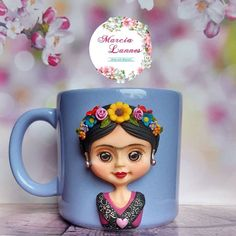 Sculpey Clay, Polymer Clay Crafts, Clay Cup, Unique Coffee Mugs, Pasta Flexible, Cute Mugs, Mexican Art, Bottle Art, Cold Porcelain