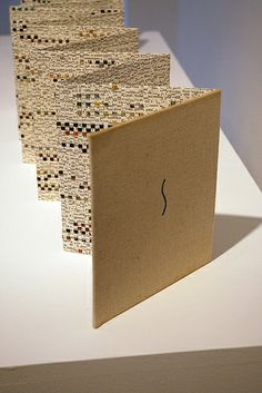 Weven - Larissa Nowicki, 'Weaving in Concertina - Impressionism I', Artist book constructed from the original cover boards and created from woven pa...
