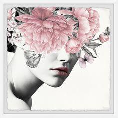 ''Floral and Lipstick' by Parvez Taj Framed Graphic Art East Urban Home Canvas Art Prints, Wall Art Prints, Framed Prints, Frames On Wall, Framed Wall Art, Painting Frames, Painting Prints, Foto Portrait, Graffiti