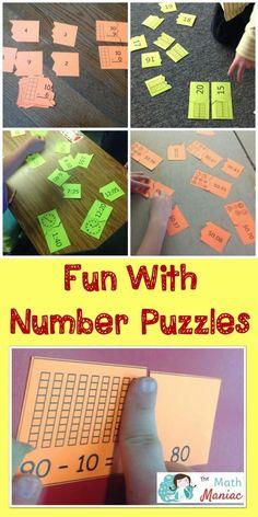 The Elementary Math Maniac: Number Puzzle Fun! Math Activities For Kids, Fun Math, Math Resources, Maths, Elementary Math, Kindergarten Math, Teaching Math, Teaching Ideas, Teaching Second Grade
