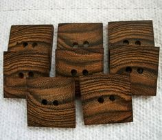 Square handmade wooden buttons!  Cool!