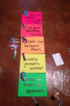 Music teacher classroom expectations/rules - great idea to put up in the classroom