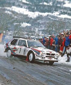 Lancia Delta S4 of Henri Toivonen (FI) and Sergio Cresto (US) in Monte Carlo Rally 1986.