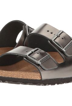 Birkenstock Arizona Soft Footbed (Metallic Anthracite Leather) Women's Sandals - Birkenstock, Arizona Soft Footbed, 1000292, Footwear Open Casual Sandal, Casual Sandal, Open Footwear, Footwear, Shoes, Gift, - Fashion Ideas To Inspire