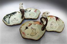 Loop-handled double dishes hand painted with sculpted detail. Bunny Rabbits, Sculpting, Porcelain, Chinese, Symbols, Hand Painted, Oil, Dishes, Detail