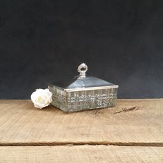 Trinket Box - Jewelry Box - Silver Lid With Handle - Ribbed Glass Bottom by TheCherryAttic on Etsy