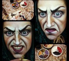 Evil witch make-up Halloween Witch Makeup, Sfx Makeup, Costume Makeup, Maske Halloween, Halloween Karneval, Halloween Costumes, Halloween Make Up, Halloween Face Makeup, Fantasy Make Up