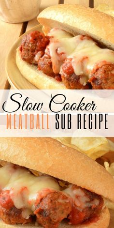 Slow Cooker Crockpot Meatball Sub Recipe sandwiches made with frozen meatballs! Great comfort food dinner for the entire family. Meatball Sub Recipe, Frozen Meatball Recipes, Meatball Subs, Slow Cooker Frozen Meatballs, Easy Crockpot Meatballs, Recipes With Meatballs, Slow Cooker Recipes, Crockpot Recipes, Cooking Recipes
