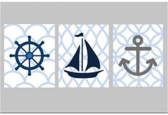 """Nautical Nursery Wall Art, Set of Three 5x7"""" prints, great for nursery, or toddler room, or as a gift. $33.00, via Etsy."""