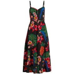 Valentino Tropical Dream-print silk crepe de Chine dress ($4,090) ❤ liked on Polyvore featuring dresses, black multi, sweetheart dress, fit and flare dress, pineapple dress, sweetheart neckline dress and print dress