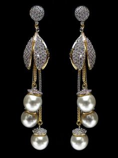 Glamorous Art Deco Dangle Earrings- formal occasion/ fancy drop earrings/ wedding earrings/ bridal earrings/ bridesmaid gifts/ gifts for her - Fine Jewelry Ideas Gold Earrings Designs, Unique Earrings, Bridal Earrings, Beautiful Earrings, Bridal Jewelry, Jhumka Designs, Pearl And Diamond Earrings, Pearl Jewelry, Drop Earrings