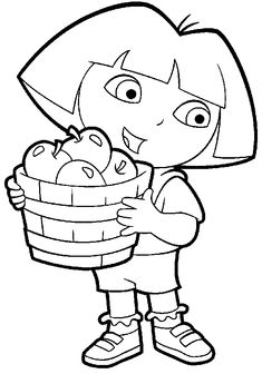 Dora with some apples