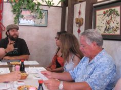 Jordan chatting with #DKB corporate group about Jan and Leonard's legacy at Mr. Ning's.  #foodtourcatalina
