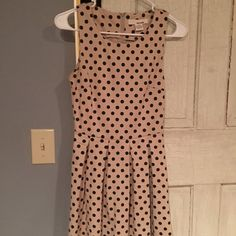 Polka dress Tan and black polka dot dress Dresses