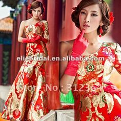 Free-Shipping-Real-Photoes-Red-One-Half-Sleeve-Chinoiserie-Formal-Evening-Dress-With-Gloden-Embroidered-Phoenix.jpg (600×600)