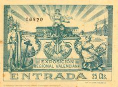 Anónimo (S. XX)   Exposición Regional Valenciana : entrada [Material gráfico]. — [Valencia] : [s. n.], 1909 (Valencia : Lit. S. Durá)  1 estampa : bl. y n.