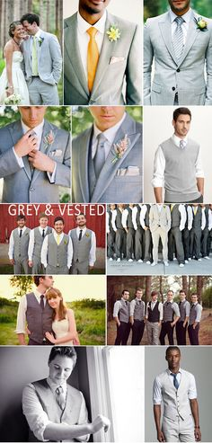 Grey suits and vests, casual rolled up sleeves for the men in your bridal party