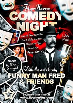 Free Comedy Flyer Template - http://ffflyer.com/free-comedy-flyer-template/ Download this free comedy flyer template to promote your comedy night's with – perfect if you're a local comedy club!   #Artist, #Club, #Comedy, #Fun, #Nightclub, #Party, #Sketch