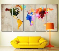 Modern wall art for your home and office decoration. Our contemporary arts is all hand made, We make high quality canvas prints. Browse through thousands of unique wall art ideas, perfect for any space decoration. Best Canvas, Map Canvas, Canvas Frame, Canvas Art Prints, Canvas Wall Art, Canvas Art For Sale, Map Artwork, Map Painting, Water Color World Map